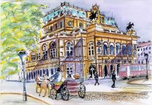 Opera de Viena y tranvía