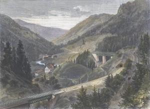 Von der Hollenthalbahn im Schwarzwald Blid von Finfterrantns Hollentha
