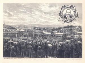 Guatemala. Retrato de D. Justo Rufino Barrios, presidente de la republica. Inauguración oficial del Camino de Hierro de la capital a Amatitlán.
