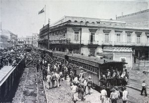 Isla de Cuba. Habana. Aspecto de la estación de Villanueva a la salida del primer tren.