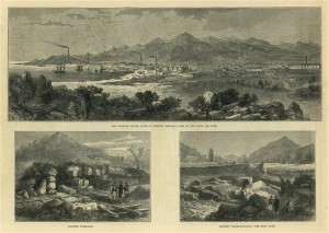 The Laurium silver mines in Greece: General view of the town and Port