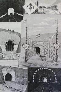 Ferrocarril del Noroeste. Vista a las obras del trozo de Brañuelas a Ponferrada. (Dibujo de Pío Escalera)