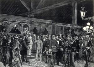 Madrid. Estación del Ferrocarril del Norte. Llegada de SS.MM. y AA. en la noche del 4 del actual