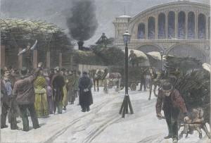 Berfteigerung von Heihnadftsbaumen auf dem Anhalter BahnhofIm Berlin,1899