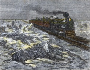 Zelezna Draha Na Lede Reky Sv Vavrince U Montrealu V Kanade