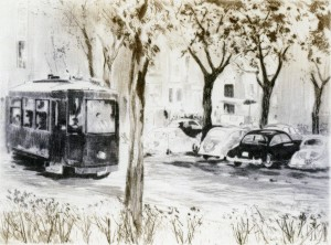 Un tranvía atraviesa la ciudad