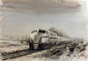"""Tren Talgo II con la locomotora 350.003 """"Virgen de Begoña"""""""