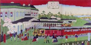 Locomotora de vapor en la Estacion Shiodome (Tokio)