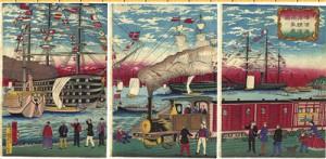Vista de una locomotora de vapor a lo largo de la costa de Yokohama