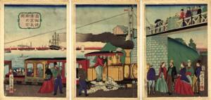 Tren de vapor en la costa Takanawa (Tokio)