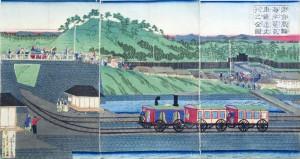 Habitantes acudiendo a ver el primer tren de Tokio