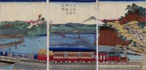 Tren de vapor circulando por la bahía de Yokohama.